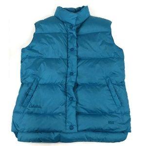 Cabelas 650 Goose Down Vest Womens S Green Blue Sn